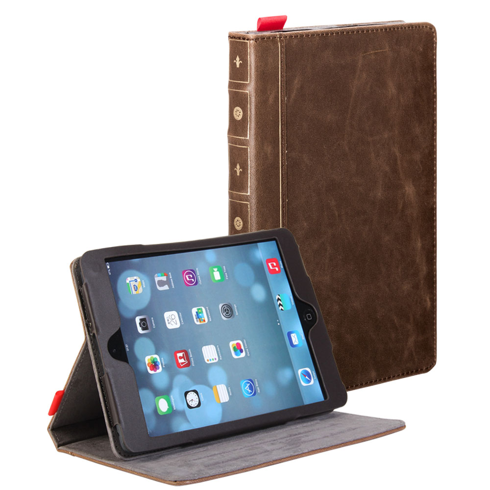 Classic Book Cover Ipad Mini : Brown classic crazy horse pattern pu leather book style