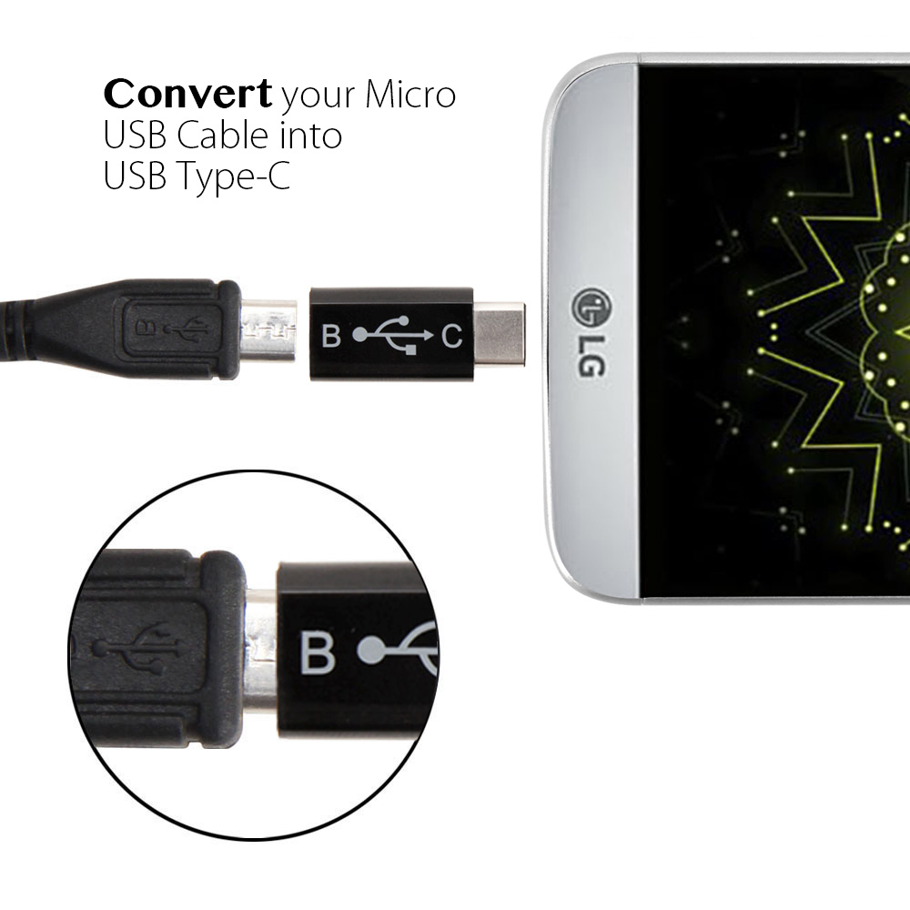 type c adapter gmyle connector micro usb to usb c adapter. Black Bedroom Furniture Sets. Home Design Ideas