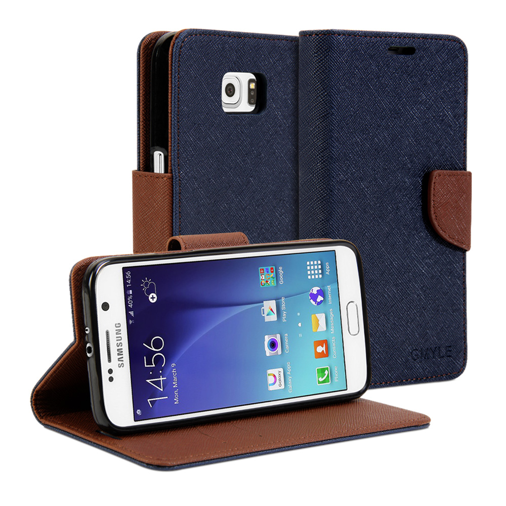 Samsung Galaxy S6 Case - Wallet Case Classic - Navy Blue & Brown Cover ...