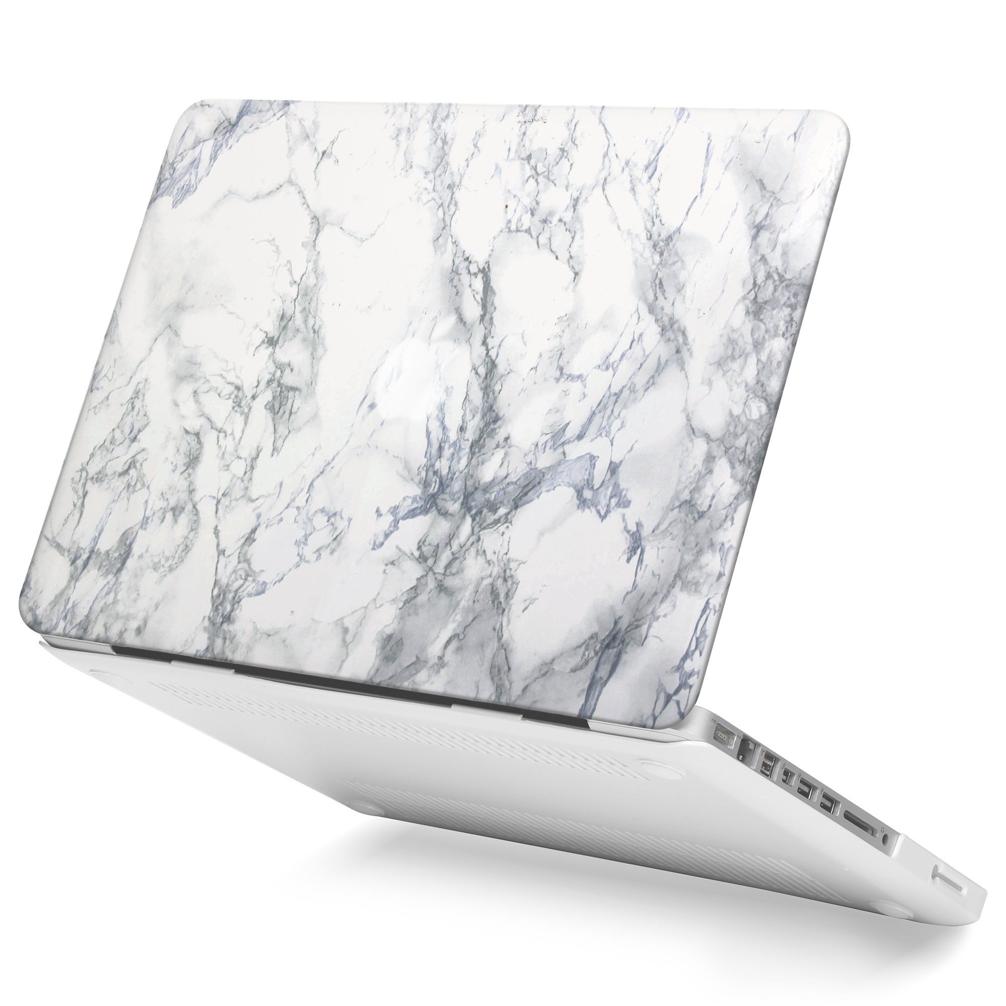 White Marble Pattern Rubberised Hard Shell Case Cover For
